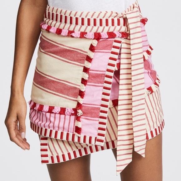 Dodo Bar Or Skirt.Nwt Dodo Bar Or Pink Red Striped Hoze Miniskirt Nwt